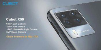 Cubot X50 avec une batterie 4500mAh et 4 caméras 64Mp pour le 17 Mai